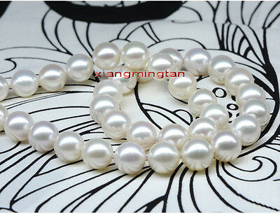 """LONG AAAAA 35""""11-12mm perfect round REAL south sea white pearl necklace 14K WG"""