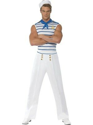 Adult Mens Fever French Sailor Costume Navy Halloween Fancy Dress - Large