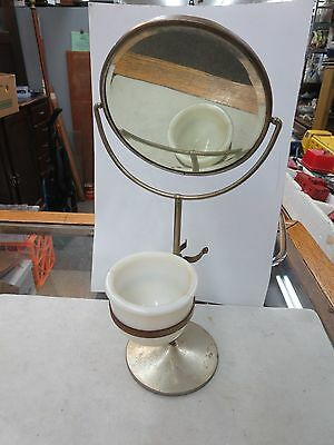 OLD SHAVING BEVELED MIRROR WITH CUP AND STAND