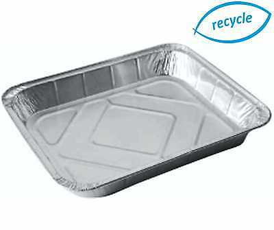 "LGE FOIL TRAYS 12½"" x 10½""x 1½"" RECTANGLE BAKING CONTAINERS TIN TRAY PIE DISHES"