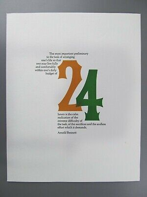 One's Daily Budget of 24 Hours, Arnold Bennett, Adagio Press Broadside 1976