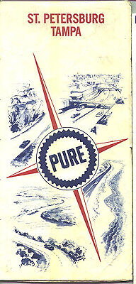 1967 Pure St. Petersburg/Tampa Vintage Road Map