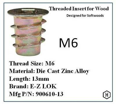 E-Z Lok M6 Flanged Die Cast Zinc Hex-Drive Threaded Insert for Wood (50 Pcs)