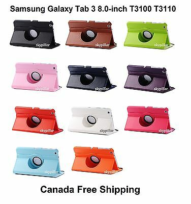 360 Rotating PU leather Case Cover 8.0 Samsung Galaxy Tab 3 SM-T310 T310