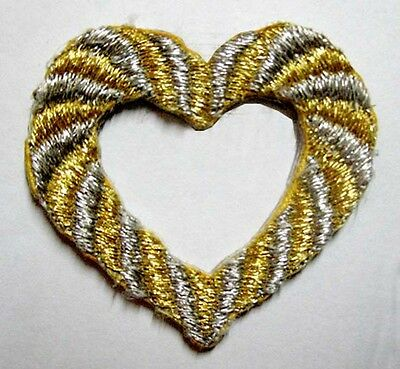 BEAUTIFUL GOLD SILVER HEART JACKET JEANS Embroidered Iron on Patch Free Shipping