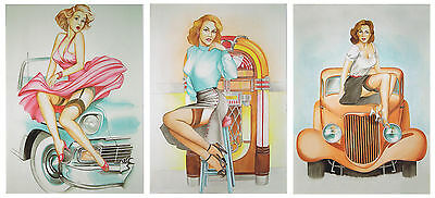 Wholesale Pack 6 Blank Greeting Cards, Birthday Cards, Pin Up, Jukebox, Hot Rod