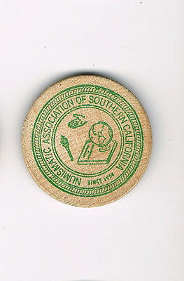 Vintage Wooden Nickel Numismatic Association of Southern California 1973