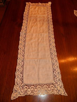 ANTIQUE Vintage runner VERY OLD off white with LACE TRIM CHIM a NEY