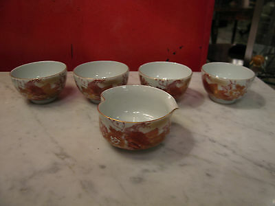 Vintage Possibly Antique Japanese Signed 5 Piece Porcelain Sake Set w/ Flowers