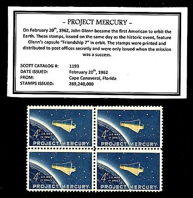1962 - PROJECT MERCURY - Vintage Mint -MNH- Block of Four Postage Stamps