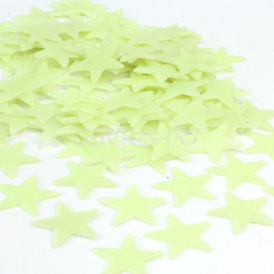 Lots Of 100pcs Green Glow in the Dark Stars  Stick on Ceiling Wall Door ae3d
