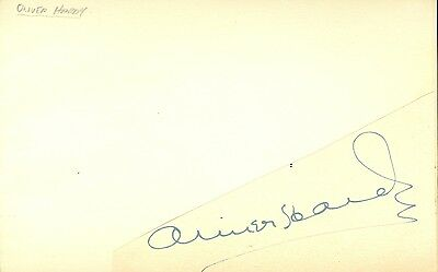 Oliver Hardy autographed cut