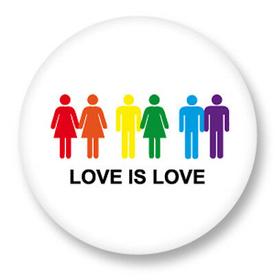 "Pin Button Badge Ø25mm 1"" Gay Homo Peace and Love Paix Amour LGBT"