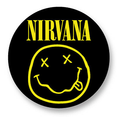 "Pin Button Badge Ø25mm 1"" Nirvana Kurt Cobain Grunge Smiley Face Jaune Yellow"