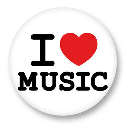 "Pin Button Badge Ø25mm 1"" ♥ I Love You Music Musique Musik Musica"