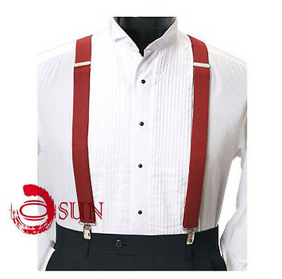 Unisex Men Solid Red Adjustable Pants Suspenders Braces Elastic 2.3CM Wedding