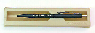 Personalised Engraved Parker Classic Matte Black Chrome Trim Ball Point Pen New