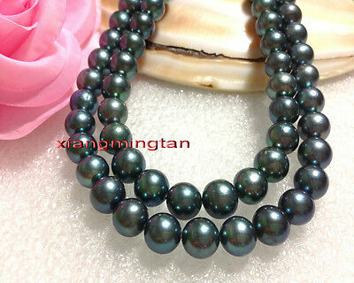 """AAAAA 35""""10-11mm 100% natural REAL south sea black green pearl necklace 14K"""