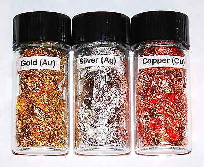 Pure Copper, Silver, Gold in glass vial - Column 11 Element Samples