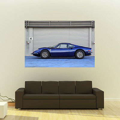 Poster of Ferrari Blue Dino Giant Classic Super Car Huge Print 54x36 Inches
