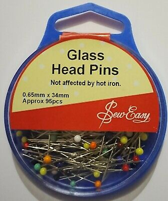 Sew Easy Glass Head 95 Pins Metal Silver Not Affected By Hot Iron Sewing Pinning