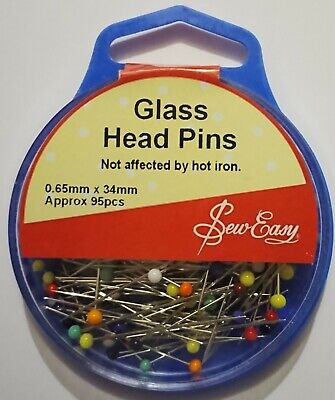Sew Easy Glass Head Pins 34Mm X .65Mm Approximately 95 Pins Sewing Craft