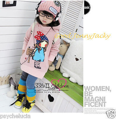 Cute New Pink Cotton Jumper with cap for Baby Kids Girls Size 3/4/5/6