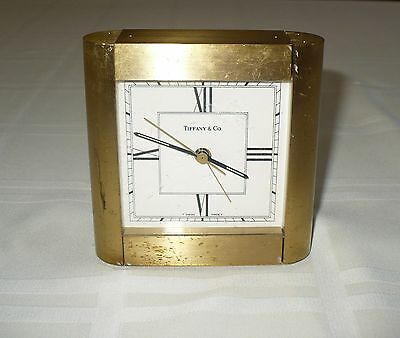 "Vintage Tiffany & Co Heavy Brass Shelf Mantle Desk Clock "" Swiss T "" Quartz"