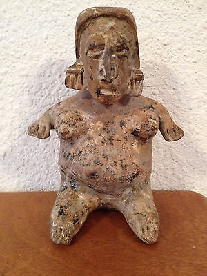 Antique Pre-Columbian Pottery Figure of Pregnant Woman