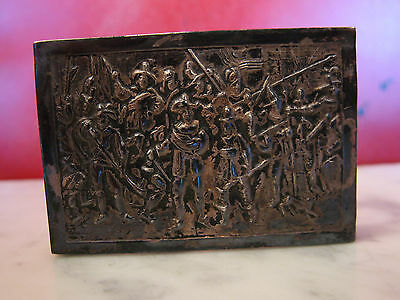 Vintage Antique Hand Hammered Metal Match Box Holder w/ Group of Figures