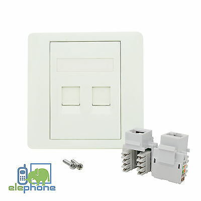 2 Port CAT6 RJ45 Network Faceplate Face Plate Single Gang Wall Socket
