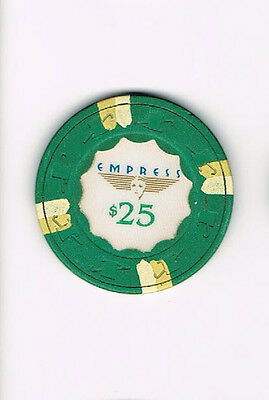 Empress $25 Casino Chip (with Beige & Cream Stripes)
