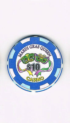 Mardi Gras Queen Casino  $10 Casino Chip   (**FREE SHIPPING**)