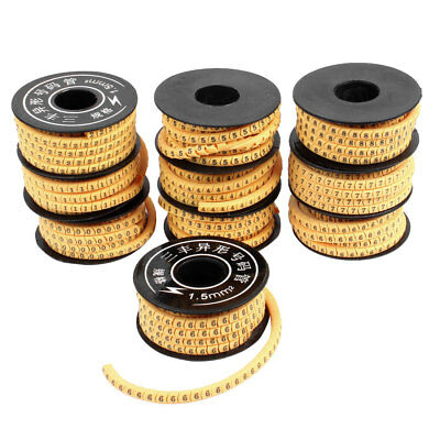 10 Pcs Yellow Flexible PVC Number 0-9 Print 1.5mm2 Wire Cable Markers Tag