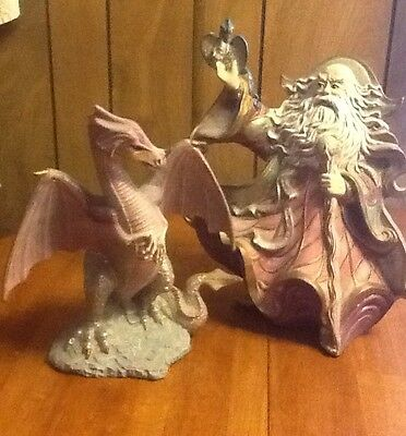 Wizard and Dragon Figurines