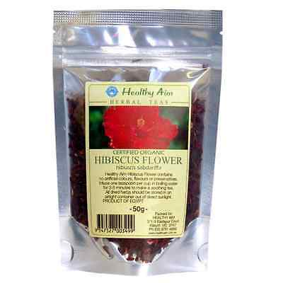 Certified Organic HIBISCUS FLOWERS ~ 50g HERBAL TEA Premium ~ Dried Herbs
