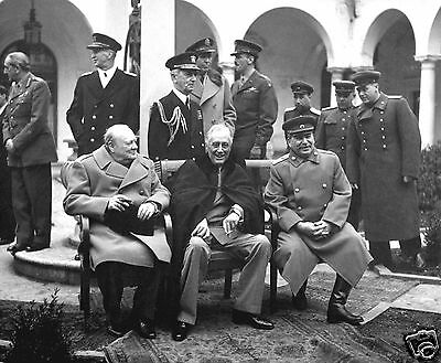 "Roosevelt FDR Winston Churchill "" Big 3"" Allies WWII 8 x 10 Photo Picture #bt1"