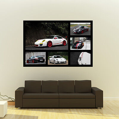 "Poster of Porsche 911 GT3RS GT3 Giant HD Super Car Collage Huge Print  54""x36"""