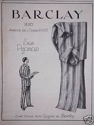 Publicité Barclay Ses Pyjamas - Advertising