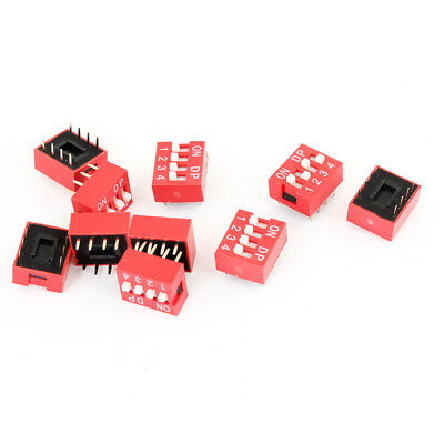 10 Pcs Electronic Component 4 Ways 2 Rows Slide Type ON/OFF DIP Switch Red