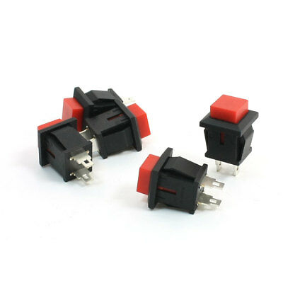 5 x Red Square Head SPST Momentary Push Button Switch 125VAC 1A