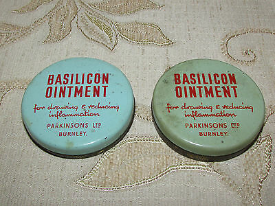 Lot Of 2 Rare Antique Collectable Basilicon Ointment Tins  - 1940's