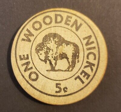 VINTAGE 10c WOOD NICKEL TOKEN / EL PATIO / SAN GERMAN  PUERTO RICO