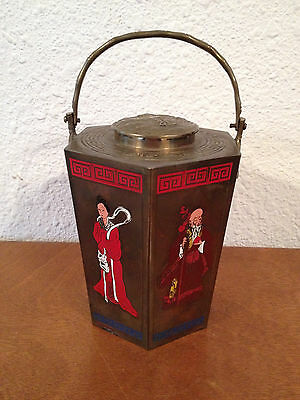 Vintage Hexagon Form Chinese Signed Brass Pot or Tea Caddy w Immortal Decoration