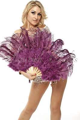 "Purple Marabou & Ostrich Feather fan primary Burlesque Dance 21""x38"" Gift Box"