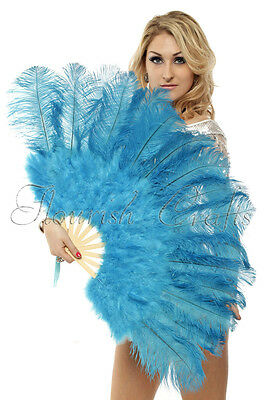 "Turquoise Marabou & Ostrich Feather fan primary Burlesque Dance 21""x38"" gift box"