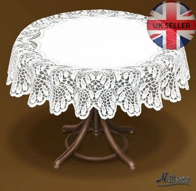 """Tablecloth round white or cream lace Ø160 (63""""), Ø140 (55"""") fantastic Xmas gift"""