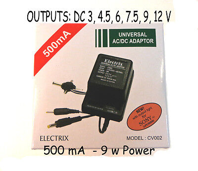 500 mA Universal AC DC Adapter Converter 3 4.5 6 7.5 9 12 V Power Charger SNAP