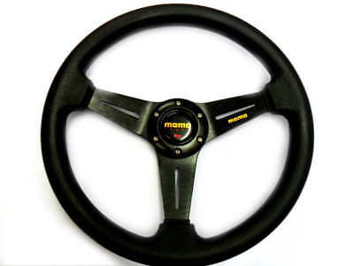 """New 14"""" Black PU Sport Car Racing Steering Wheel + Horn Button 4-8 Days Postage"""