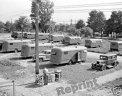 Photograph  Vintage Migrant Worker & Camping Trailers Pennsylvania 1941  11x14